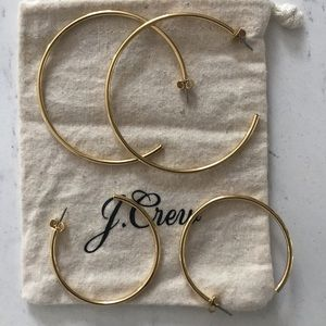 J CREW GOLD HOOP SET NEVER WORN IN DUST BAG